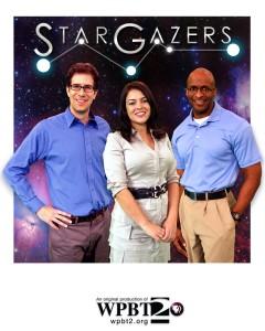"Dean Regas, Marlene Hidalgo and James C. Albury, co-hosts of the PBS television program ""Star Gazers"""