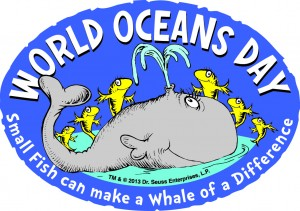 World Oceans Day logo, whale with fish
