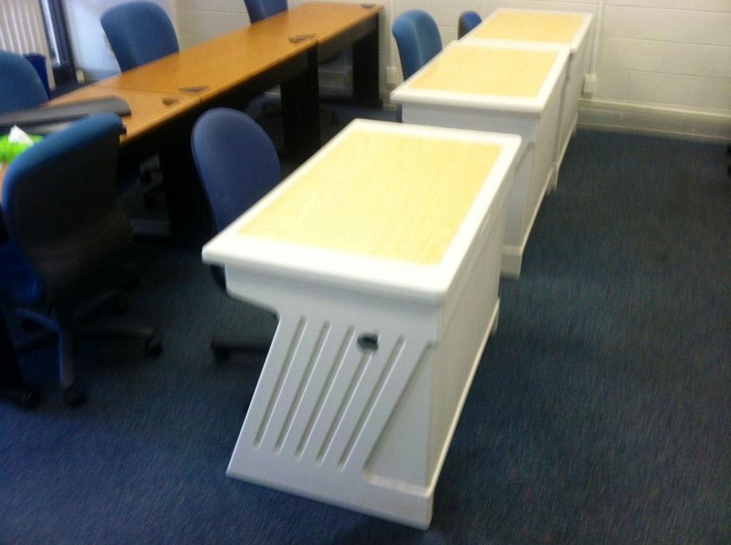 three types of small desks available in surplus today at