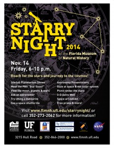 Promotional poster for Starry Night 2014 at the FLMNH