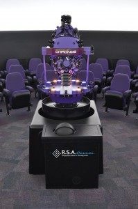 The interior of the Kika Silva Pla Planetarium, featuring the Chronos optical mechanical projector (by Goto) and the RSA Cosmos 1C-3K digital projection system (installed and serviced by Ash Enterprises)