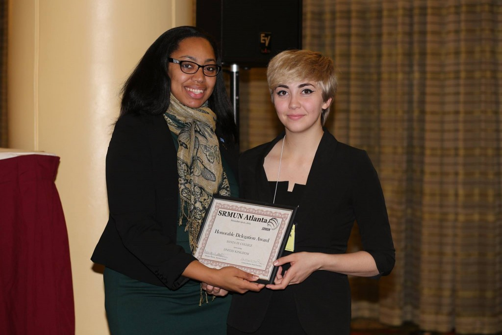 Pictured: Kayla Caniff, team president, receiving an Honorable Delegation on behalf of the United Kingdom.