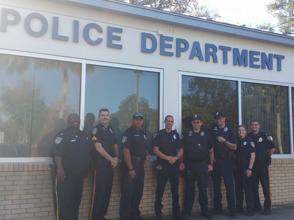 Ofc. Christopher Wilson - center - with some of the other Santa Fe College Police Department members. This includes the newest officer, Sarah Smith, far right who is in field training, and graduated from the SF Kirkpatrick Institute of Public Safety and previously from SF as a dual enrolled student.