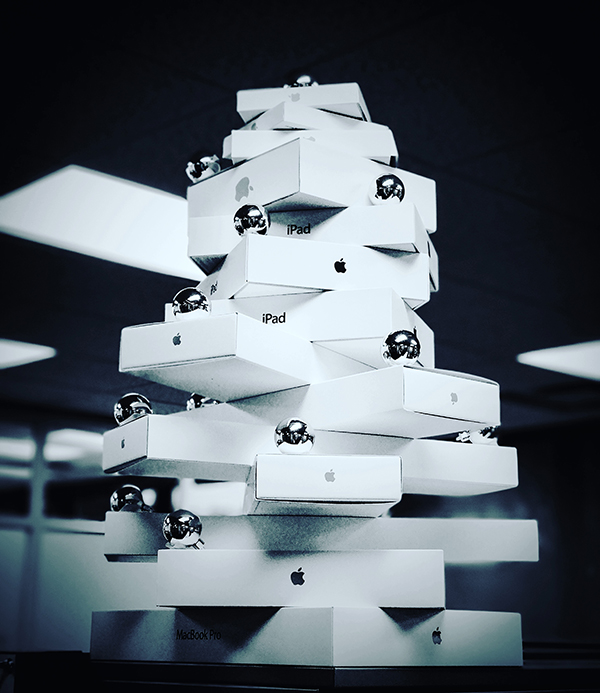Tree Out of Apple Product Boxes