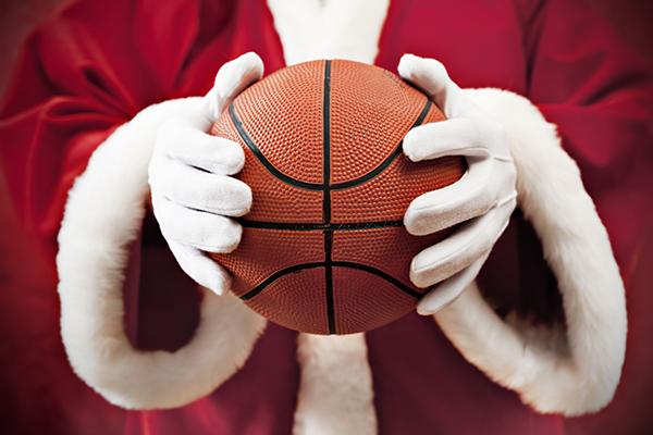 Santa Claus with basketball