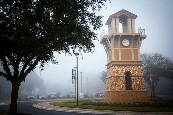 A thick fog blanked the Santa Fe College campus on the morning of Tuesday, Dec. 13, 2016 in Gainesville, Fla. (Photo by Matt Stamey/Santa Fe College)
