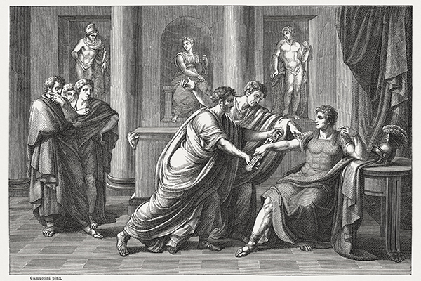 Gnaeus Pompeius Magnus (Pompey, 106 BC - 48 BC) urged by the Senate. Pompey was a military and political leader of the late Roman Republic. Wood engraving after an oil painting (1819) by Vincenzo Camuccini (Italian painter, 1771 - 1844), published in 1878.