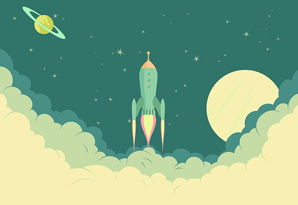 Rocket with Moon