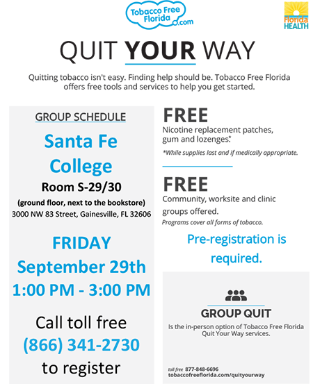 One-day session to help you quit smoking is September 29. Call 866-341-2730 to pre-register