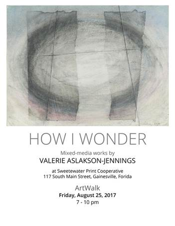SF Professor Valerie Aslakson-Jennings will have an art exhibit at Artwork Gainesville on August 25, 2017