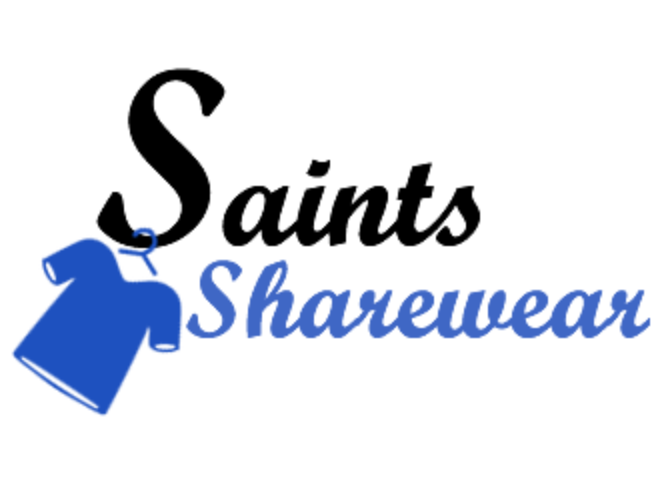 Saints Sharewear Logo - a blue shirt on a hangar, hanging from the letter S in Saints