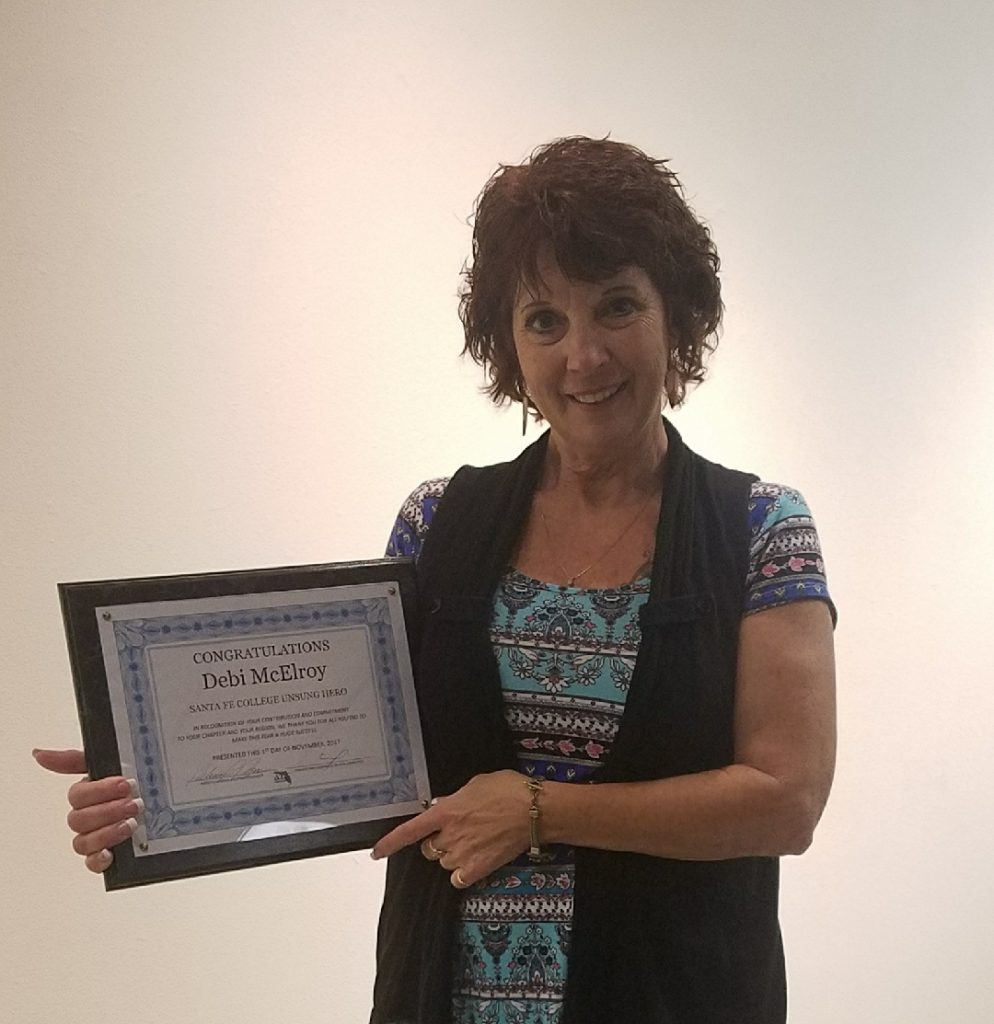 Debi McElroy was named a Santa Fe College Unsung Hero at the AFC Awards.