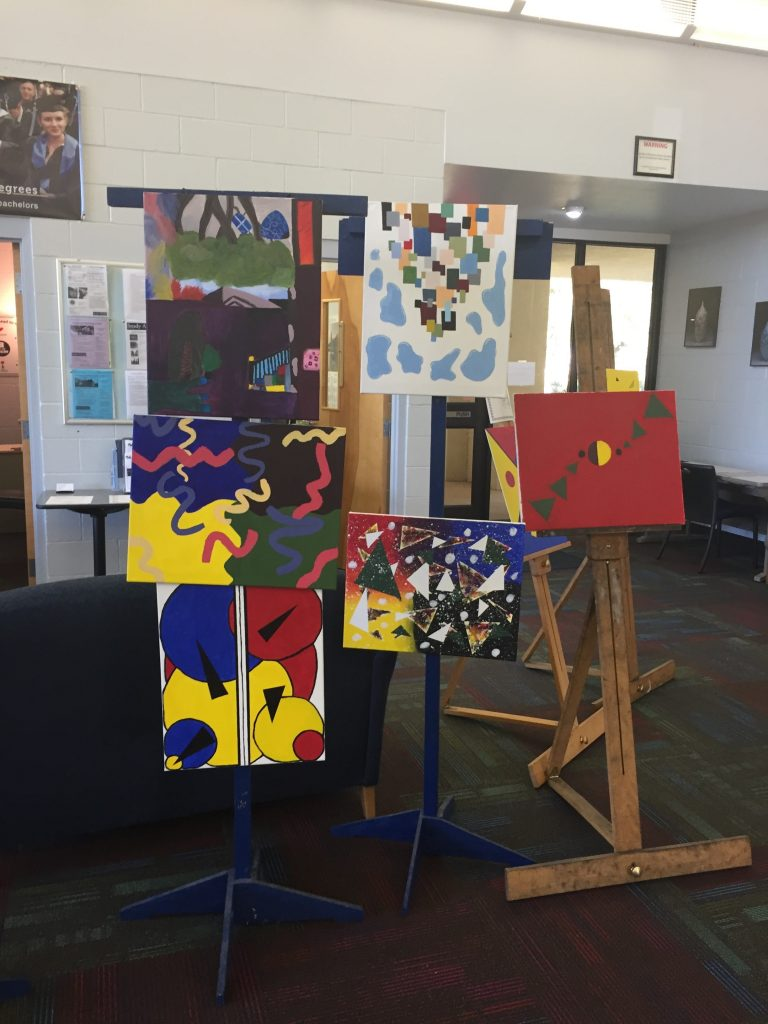Student art exhibit at Santa Fe College Davis Center in Archer, Florida