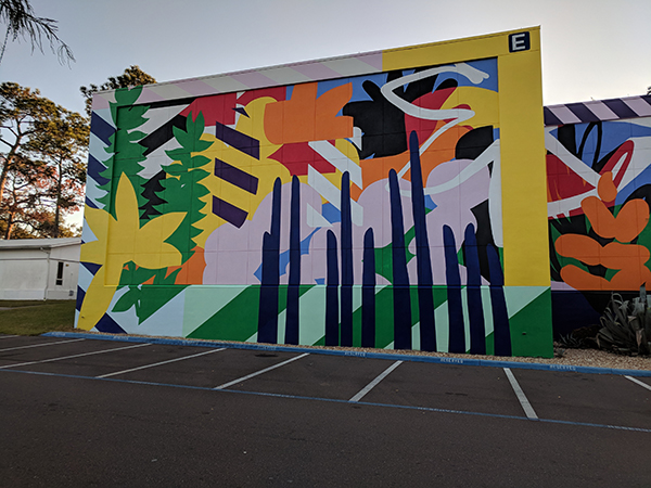 A view of the northwest side of the Maser mural on the SF Northwest Campus