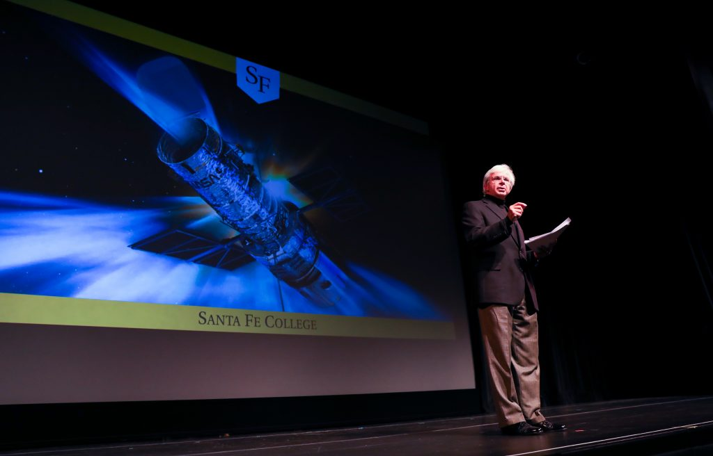 Dr. Jackson Sasser addresses the audience at the 2018 Spring Convocation at the Santa Fe College Fine Arts Hall