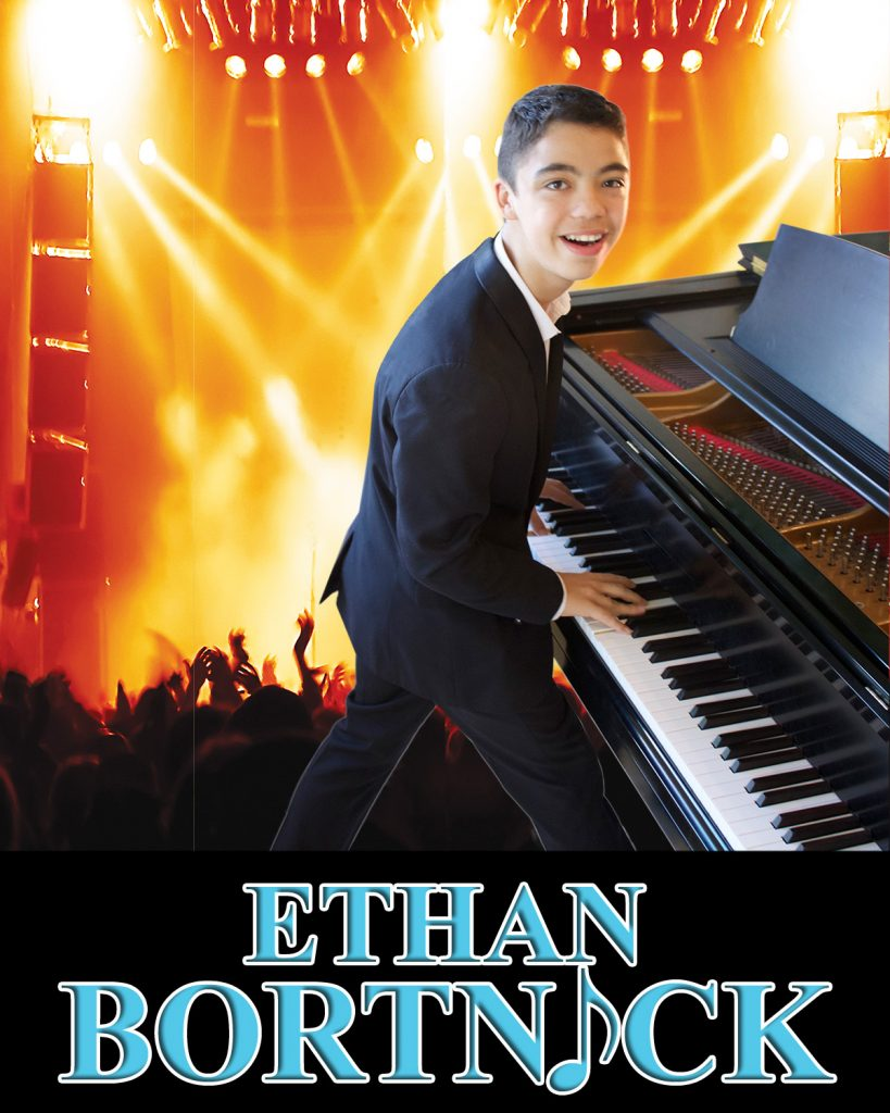 Ethan Bortnick Tour Poster - Ethan playing a piano
