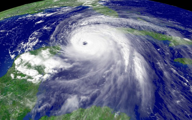 Satellite image of hurricane in Gulf of Mexico