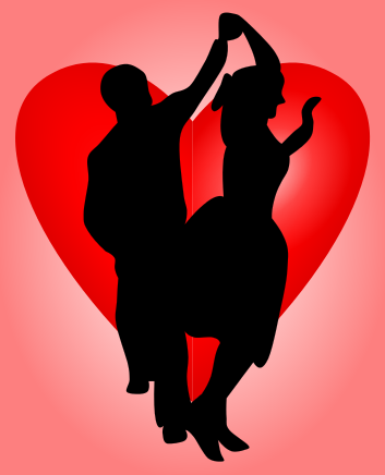 Dancing couple silhouette over a Valentine's heart
