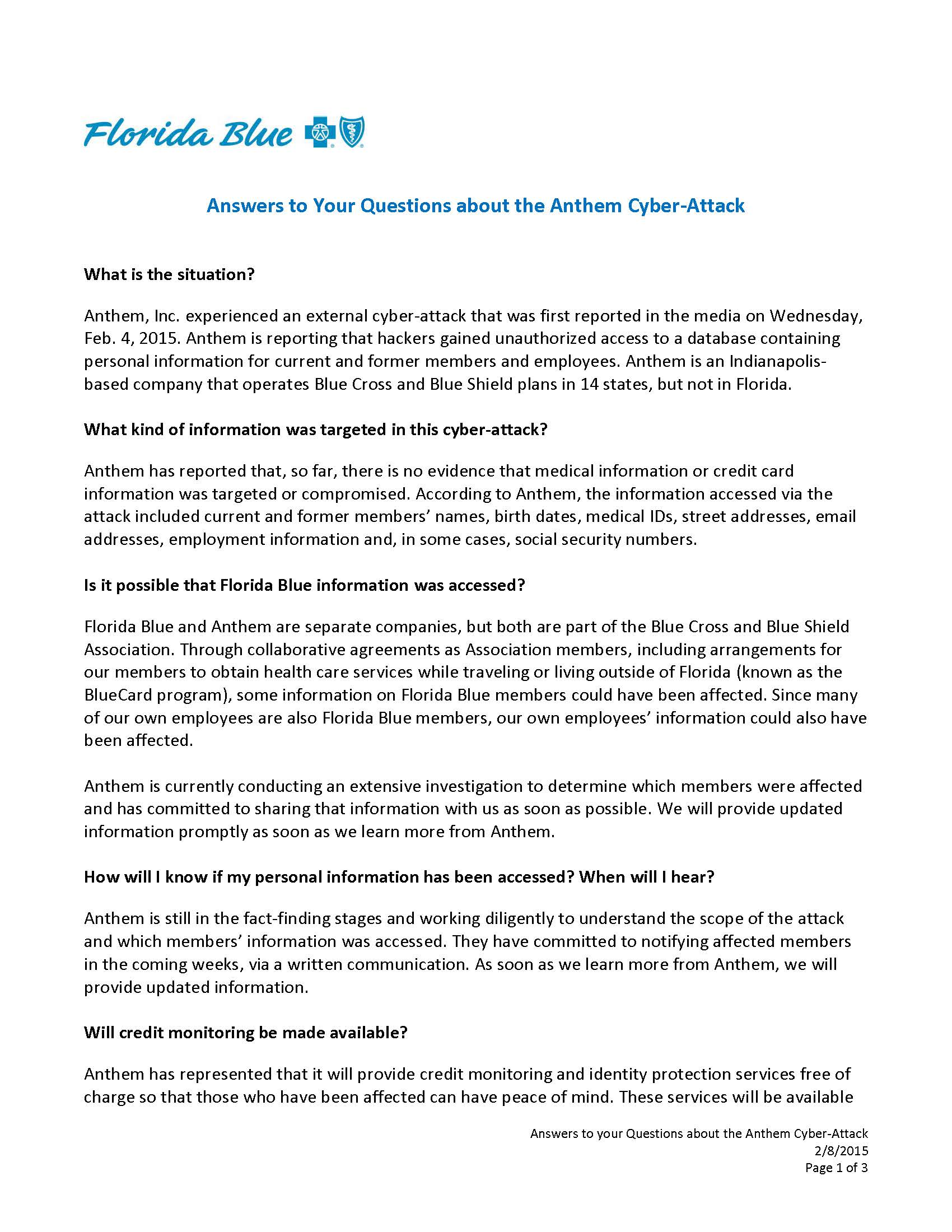 Stakeholder QA – Anthem cyber-attack FINAL_Page_1   Today