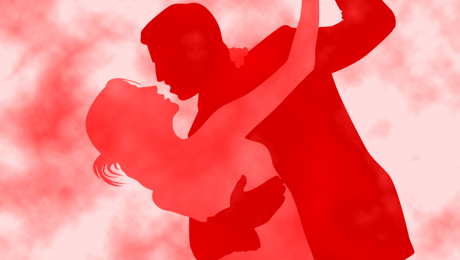 Silhouette of couple dancing
