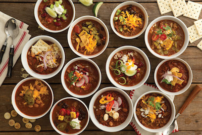 Overhead shot of bowls of chili