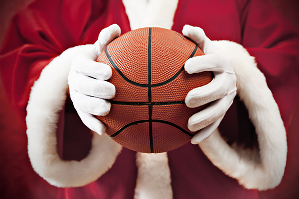 Santa Claus with basketball