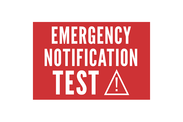 Emergency Notification Test written in white letters on a red background.