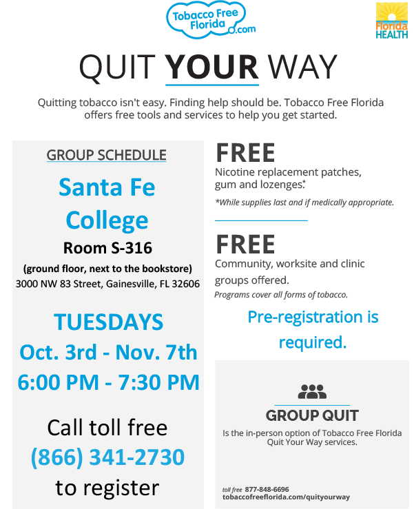 Six-week program to help you break your tobacco addiction - starts October 3 - register by calling 866-341-2730