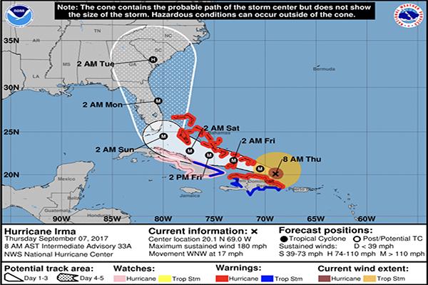 Hurricane Irma tracks closer to Florida