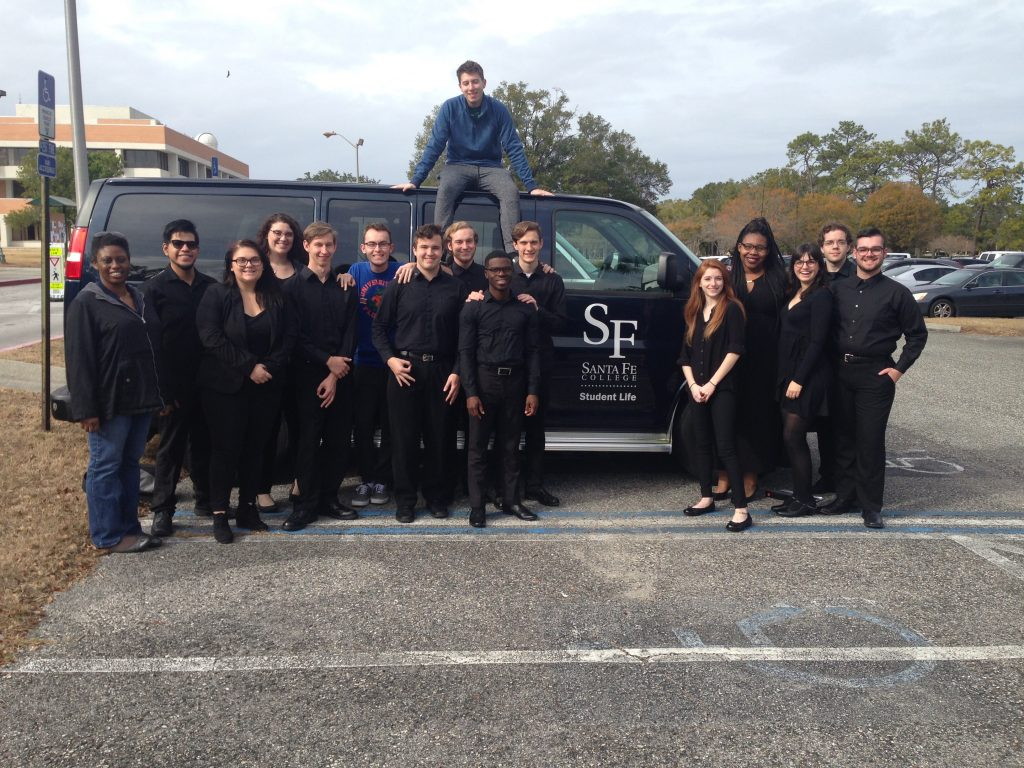 Students from the Santa Fe College Fine Arts Department arrive at Jacksonville University to compete in the Winter Music Symposium