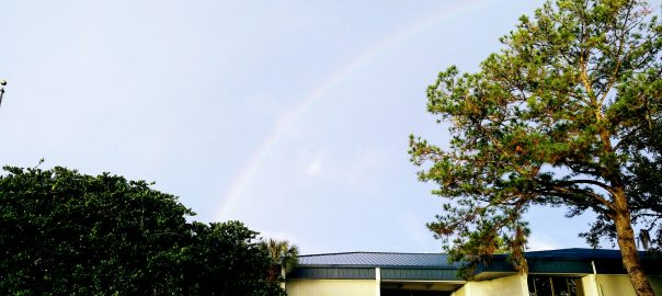 Rainbow over Building F on Santa Fe College Northwest Campus