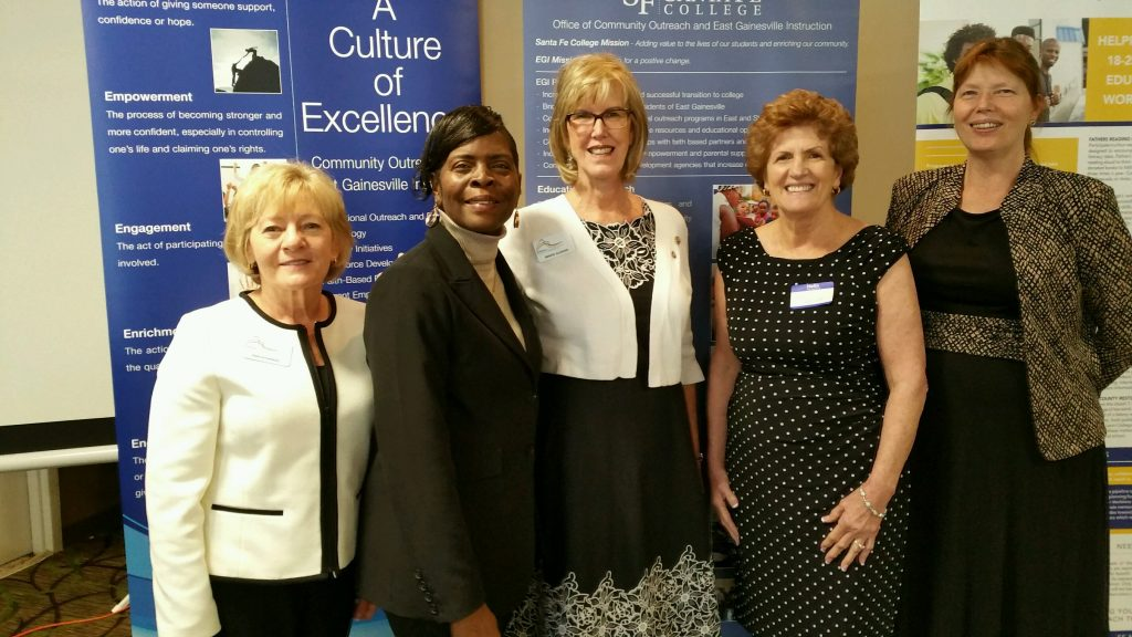Pictured from left: Joan Suchorski, current President of Altrusa International of Gainesville; Karen Cole-Smith, Executive Director of Community Outreach and East Gainesville Instruction; Bennye Alligood, former President of Altrusa International of Gainesville; Carole Windsor, former Chair of Academic Foundations and Altrusa guest; and Julie Falt Adult Education Program Coordinator.