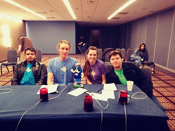 SF Brain Bowl team members Pablo Vega, Noah Bush, Traveling Caesar, Renate Ferrante, Mason Sexton, and Lourdes Guallpa