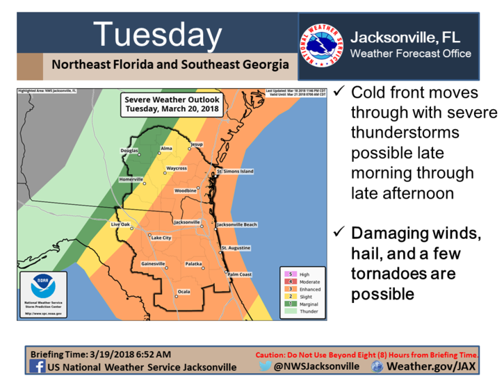 NWS map of elevated severe weeather threat for North Central Florida