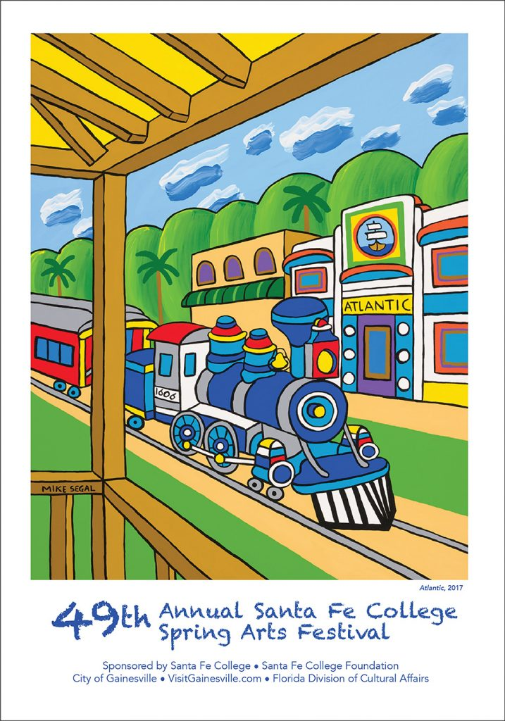 The 2018 Santa Fe College Spring Arts poster designed by Mike Segal of Chiefland, Florida.