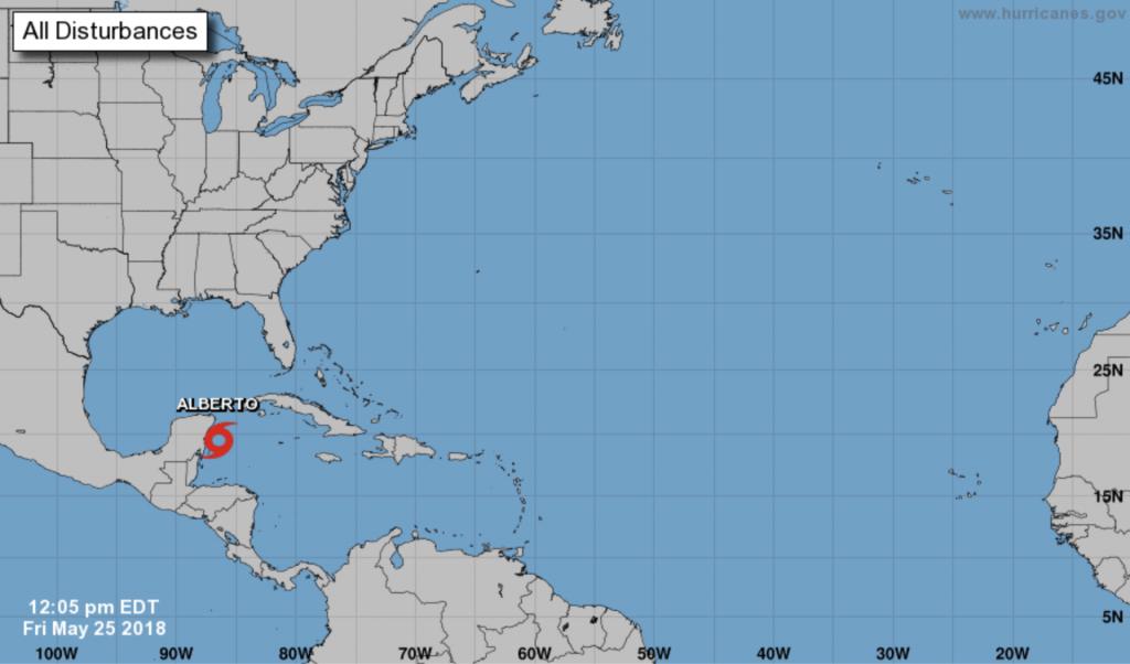 Map of Subtropical Storm Alberto by the Yucatan Peninsula