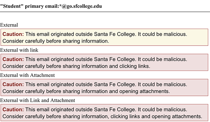 Messaging that will appear at the top of SF student emails