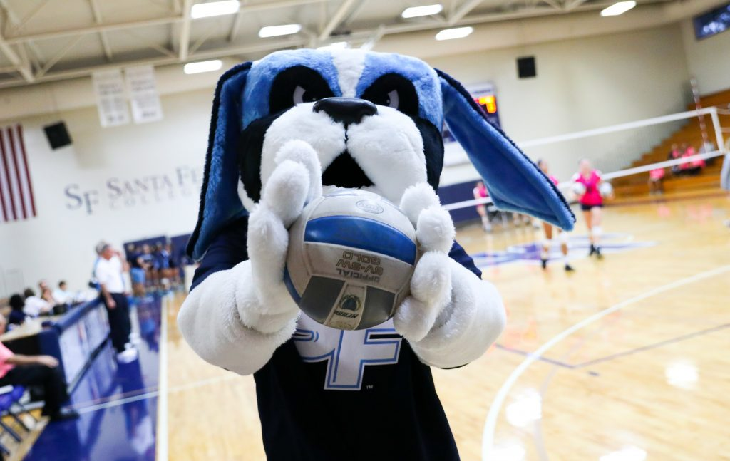 SF mascot Caesar holding a volleyball.