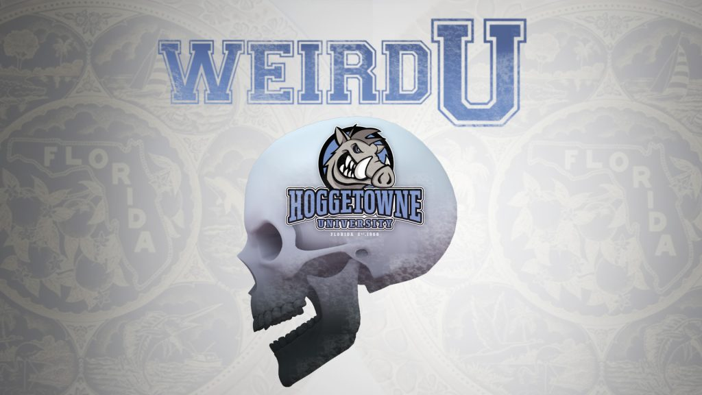 Weird U logo featuring side view of skull with fictitious Hoggetowne University logo on the side.