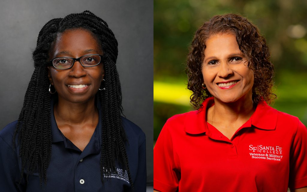 Yolanda Thomas and Sandra  Torres-Pintos were honored with advising awards during fall convocation.