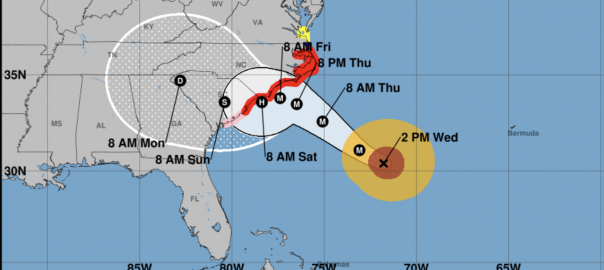 The projected track of Hurricane Florence as of 2 pm Wednesday Sept. 12