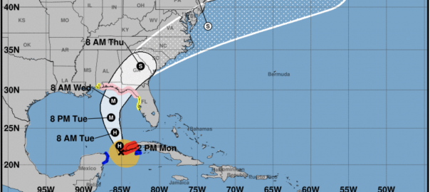 2 p.m. October 8 Updated map for Hurricane Michael