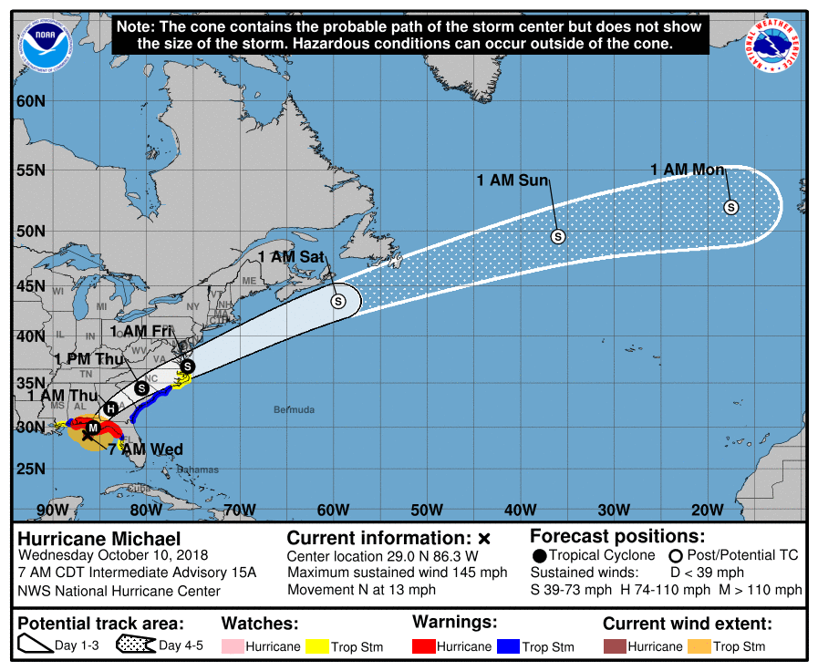 Hurricane Michael 8 a.m. Oct 10 map