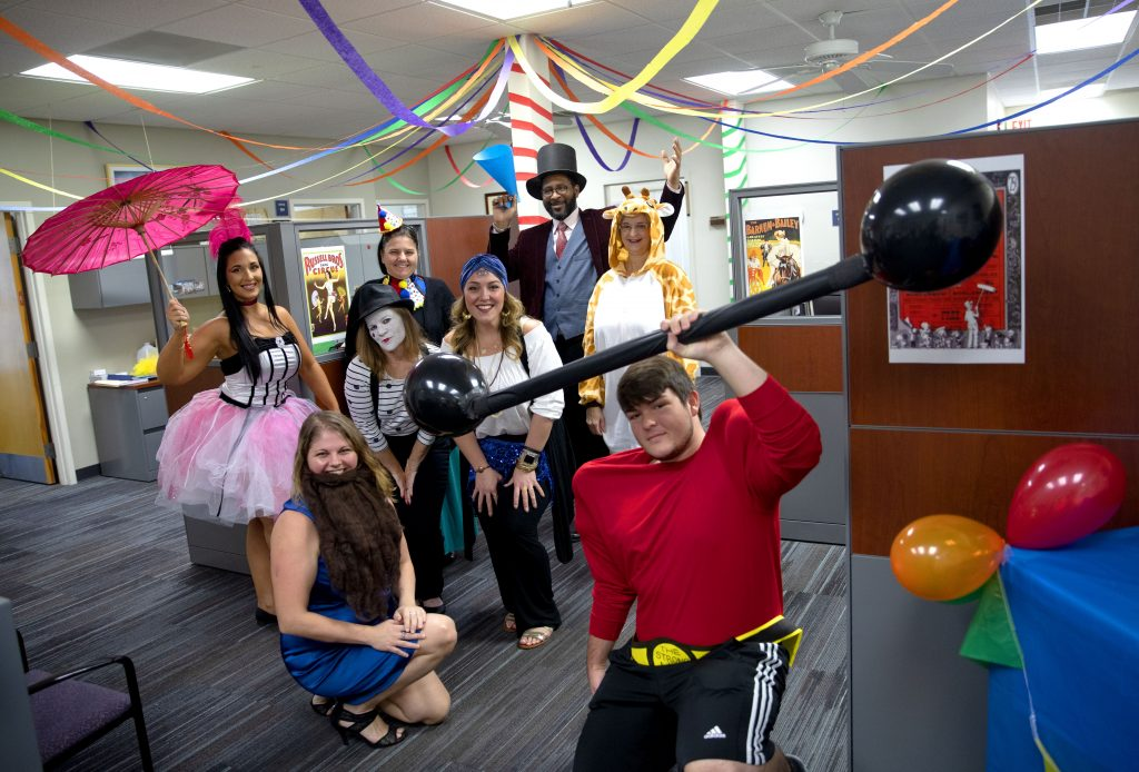 SF's Human Resouces dressing up in a circus theme to celebrate Halloween. Visit them in the Building R Annex.