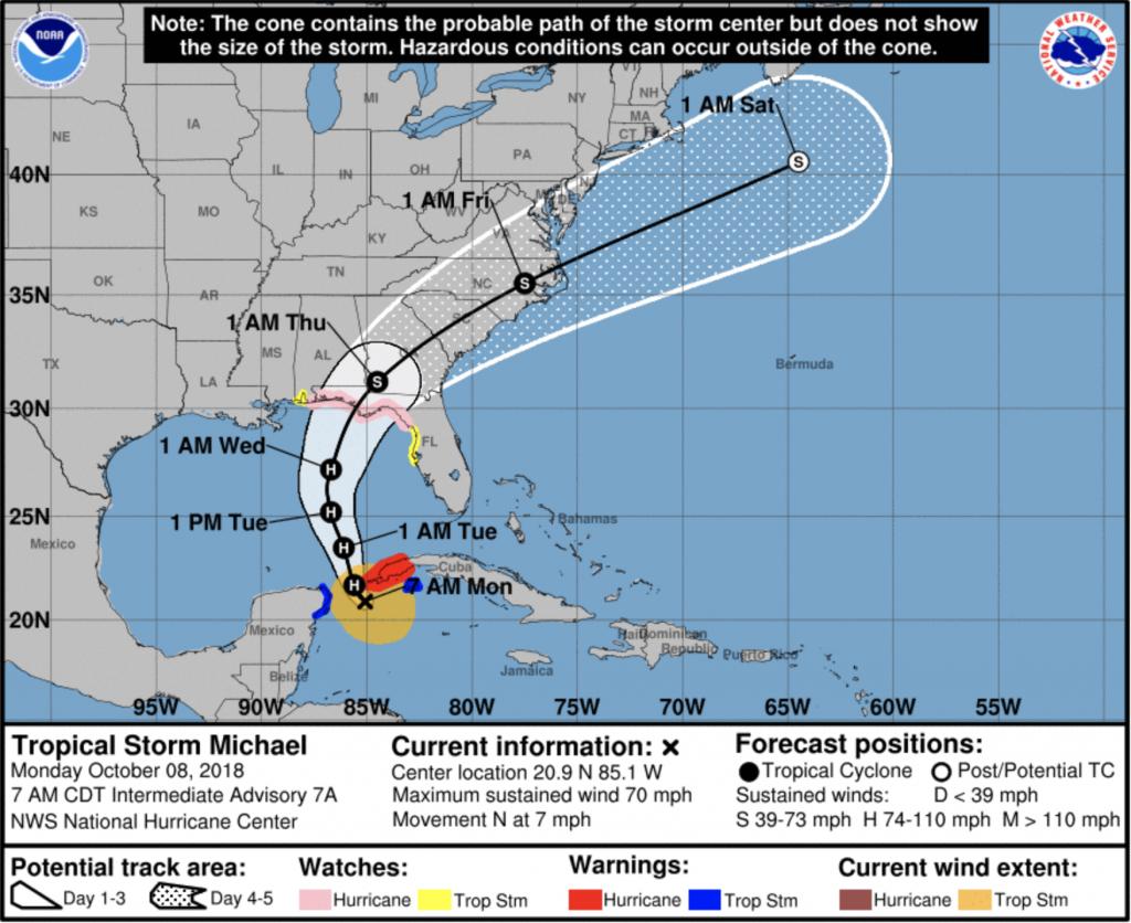 Tropical Storm Michael 7 a.m. Oct. 8 map