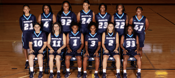 Team picture of the 2018-19 Santa Fe College women's basketball team.