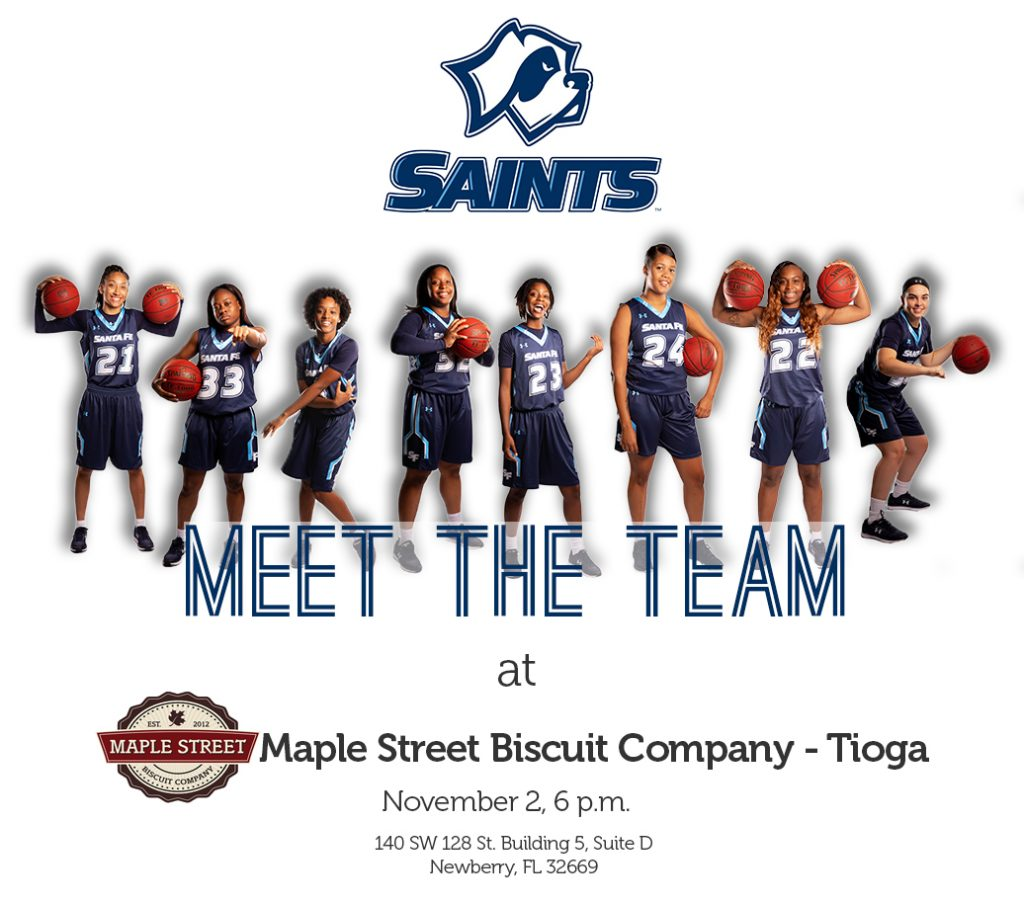 Promotional pic - meet the SF Saints women's basketball team at Maple Street Biscuit Company November 2
