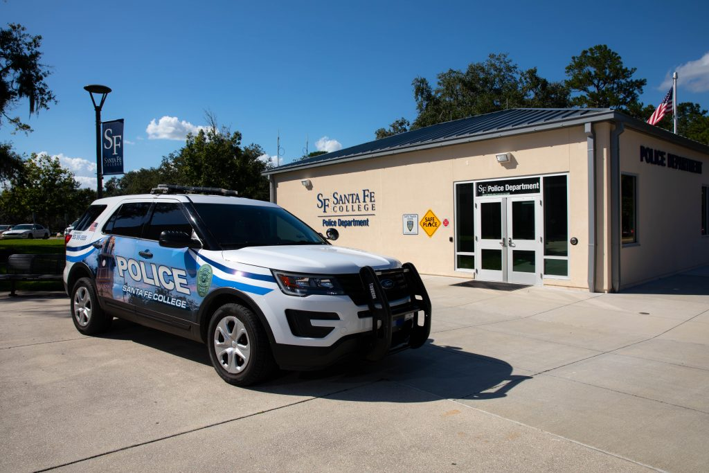 Santa Fe College Police vehicle in front of their building on the Northwest Campus