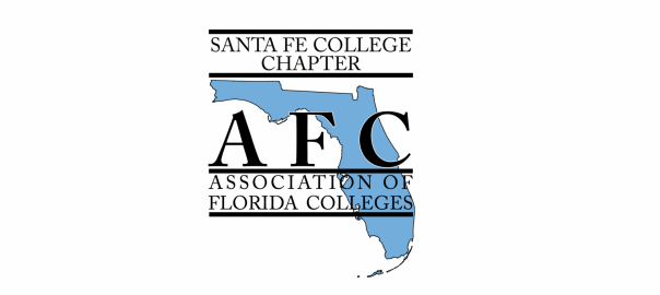 Santa Fe College AFC logo (Letters over a map of Florida) - long for banner picture