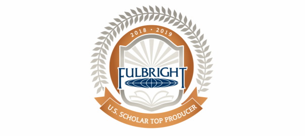 Fulbright Scholar 2018-2019 top producer logo - featuring Fulbright logo surrounded by a laurel. (long version for banner pic)